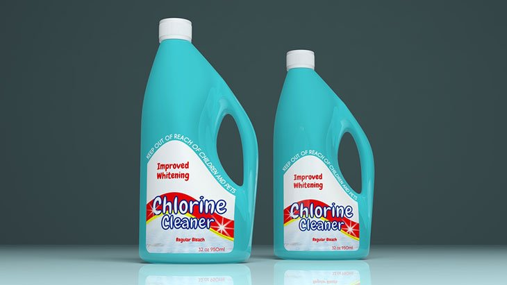 Chlorine cleaner plastic bottles