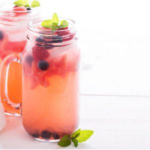 Watermelon lemonade with blueberries